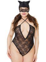 Coquette Elite: Ouvertbody mit Katzenmaske, schwarz