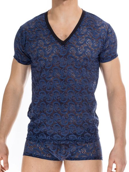 L'Homme Anapos: T-Shirt V-Neck, marine