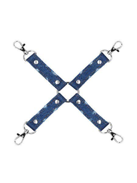 Ouch! Denim Hogtie: Fesselkreuz, jeans-blau