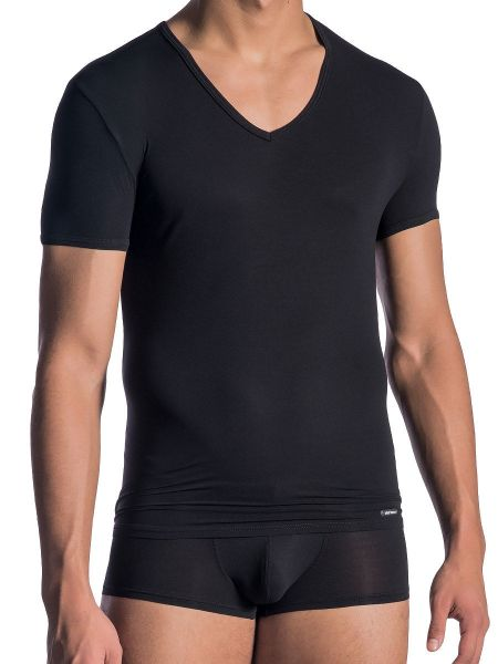 Olaf Benz RED0965: Phantom V-Neck-Shirt, schwarz