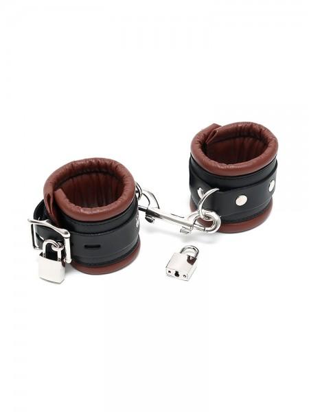 Leder-Handfesseln gepolstert und abschließbar, braun/schwarz