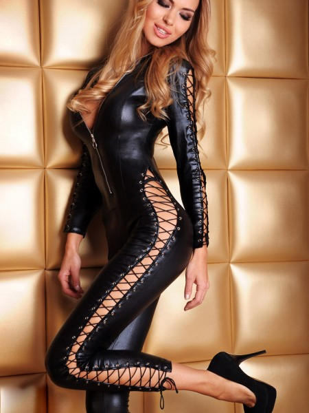 7-Heaven Wetlook-Catsuit: Sheila, schwarz