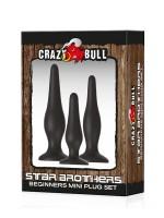 Crazy Bull Star Brothers: Analplug-Set, schwarz