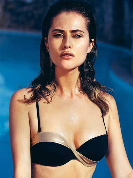 Anabel Arto: Push-Up Bikini Top, schwarz/gold