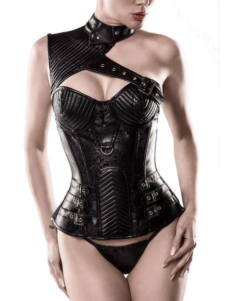 Grey Velvet Corsage 15306: Corsage mit Schulterelement, schwarz