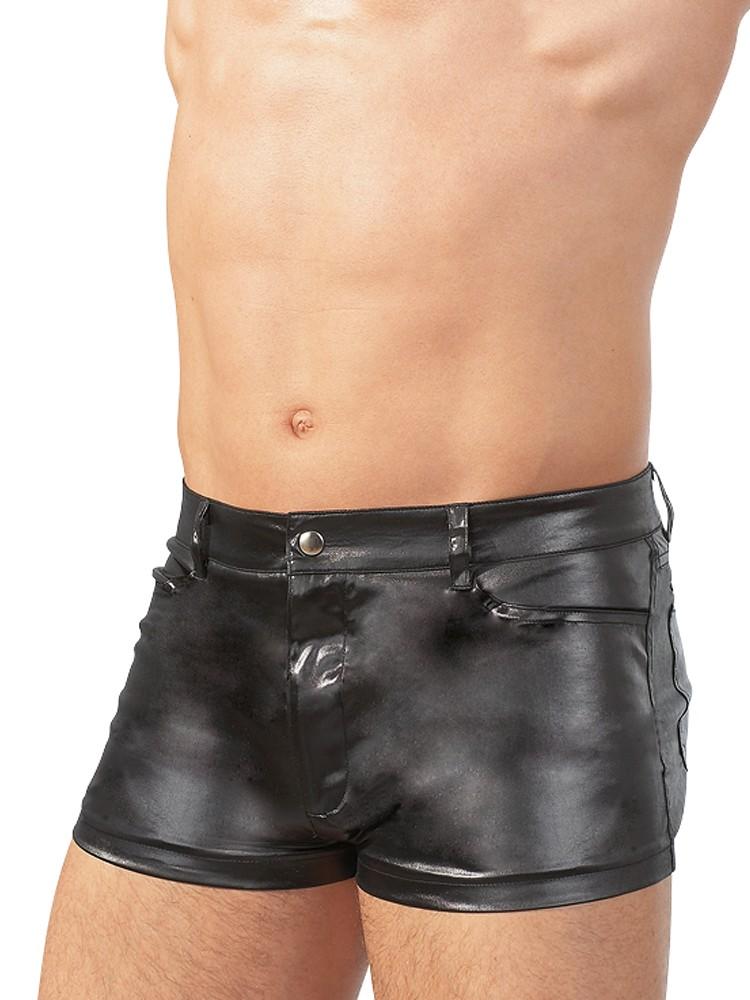 Wetlook-Shorts, schwarz (XL)