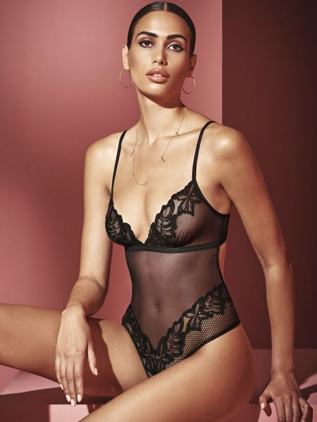 Bracli London: Perlenstringbody, schwarz