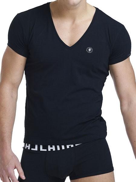 L´Homme Invisible Organic: V-Shirt, schwarz