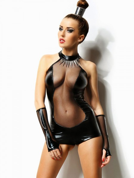 Demoniq Wetlook-Body: Isabelle, schwarz