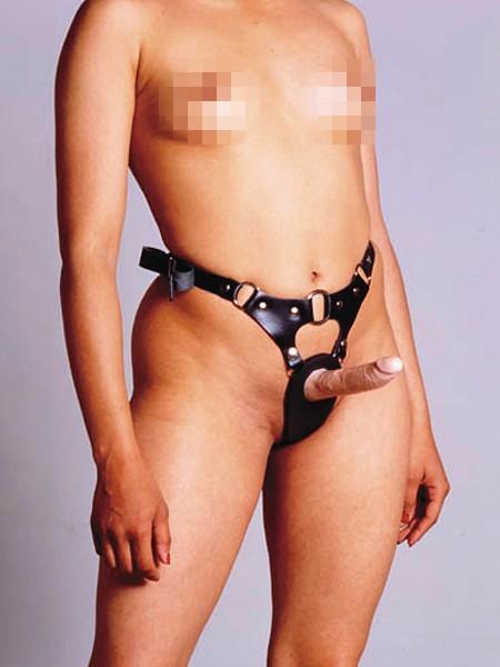 Réel Leder-Strap-On mit Dildo, schwarz/haut