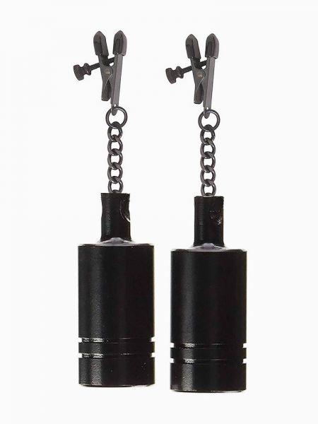Black Label Coated Metal Tingling Nipple Clamps: Nippelklemmen mit Gewichten, schwarz