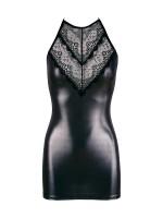 Minikleid mit Spitze, silber/schwarz
