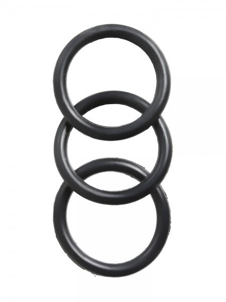 Perfect Fit Premium Silicone: Penisring-Set, schwarz