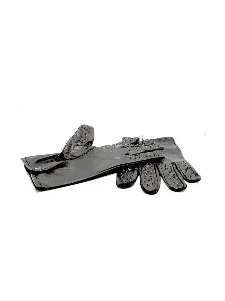 Black Label Vampire Gloves: Leder-Dornen-Handschuhe, schwarz