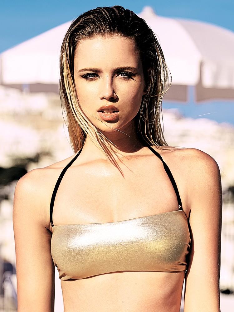 Anabel Arto: Bikini Top, schwarz/gold