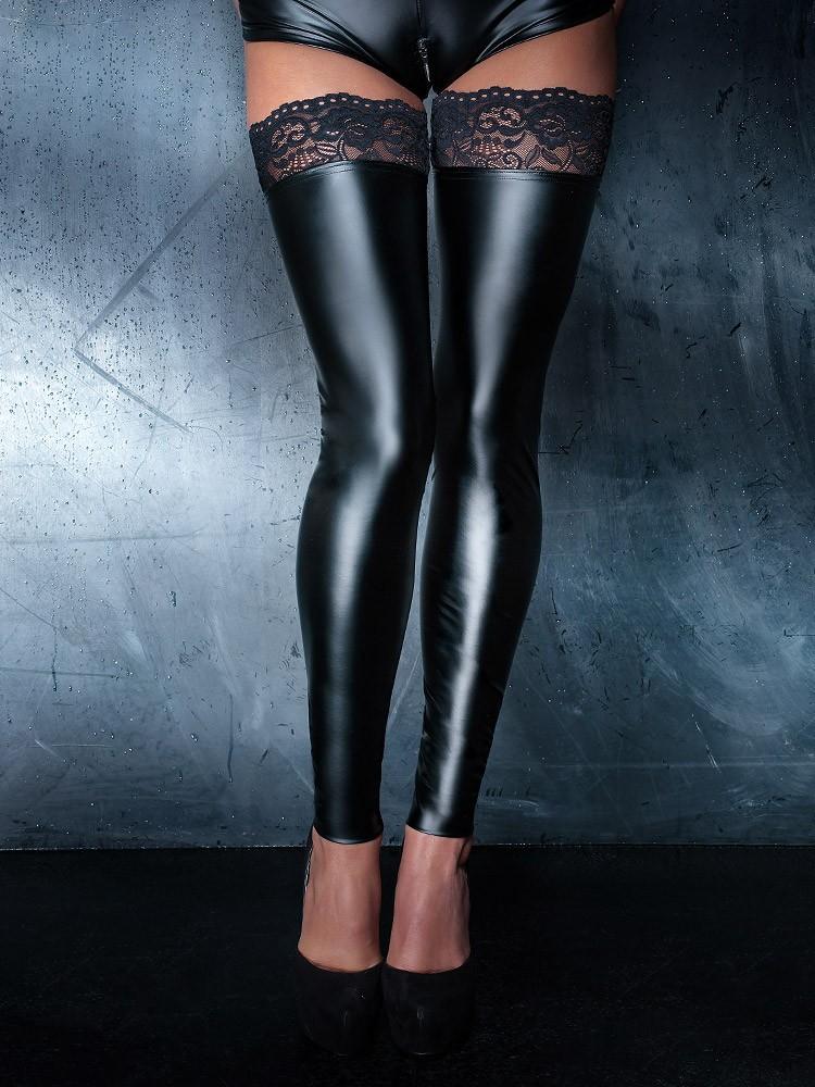 Noir Handmade: Wetlook-Beinstulpen, schwarz