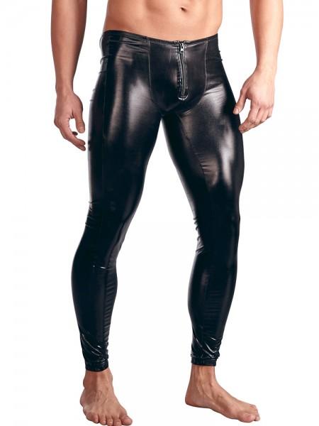 Wetlook-Leggings, schwarz