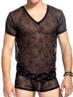 L'Homme La Nuit Fleurie: V-Neck-Shirt, schwarz