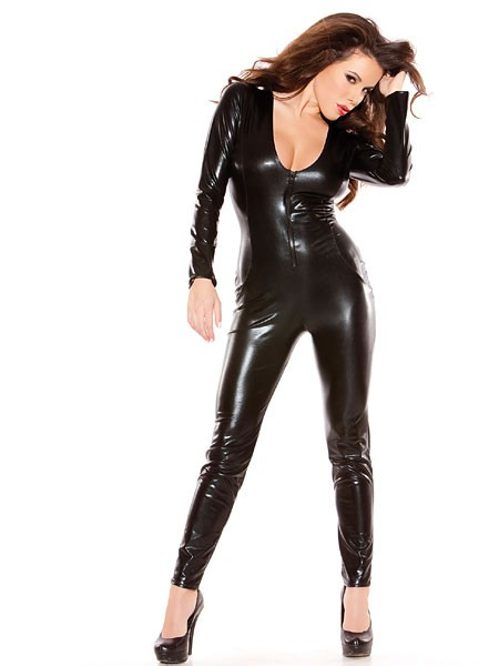 Kitten: Wetlook-Catsuit, schwarz