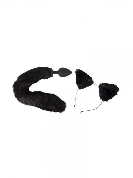 Bad Kitty Pet Play Plug & Ears: Analplug und Plüschohren, schwarz