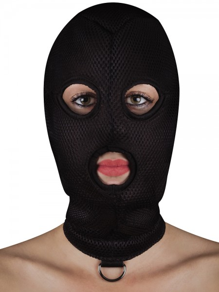 Ouch! Extreme Mesh Balaclava with D-Ring: Kopfmaske, schwarz