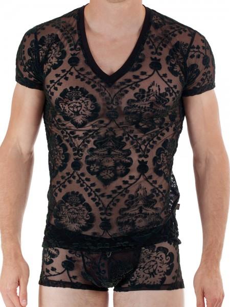 L'Homme Imperial: V-Neck-Shirt, schwarz/grün