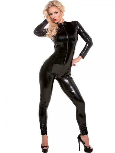 Allure: Lack-Catsuit, schwarz
