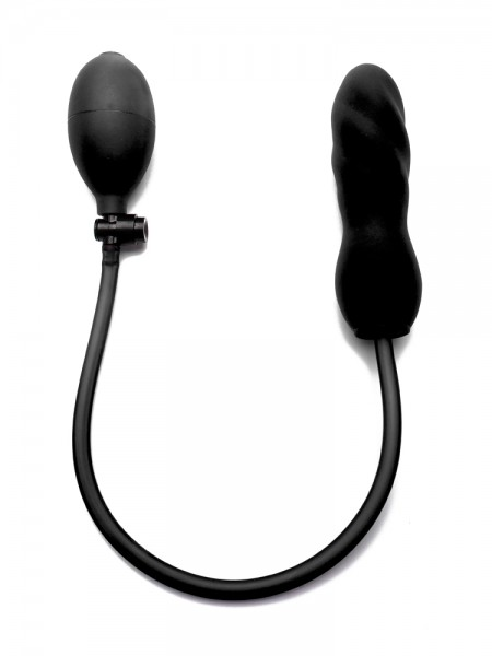 Ouch! Inflatable Silicone Twist: Pump-Dildo, schwarz