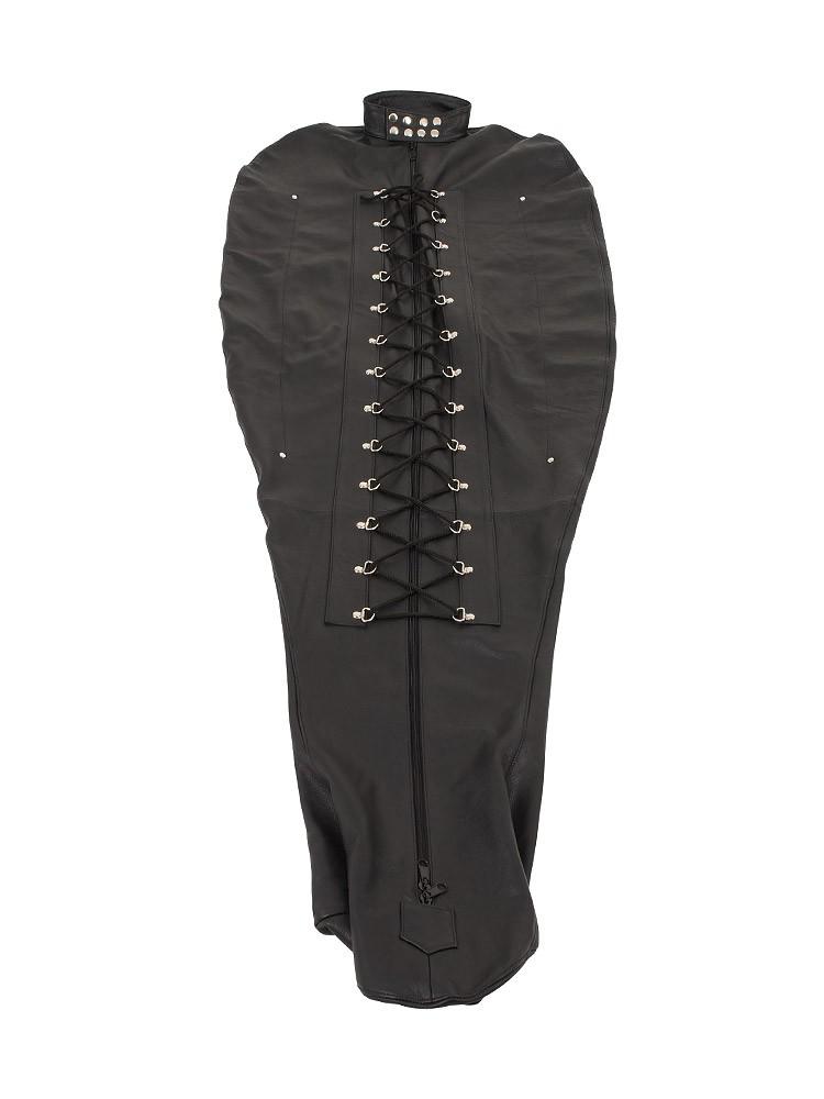Leder-Bondage-Schlafsack, schwarz