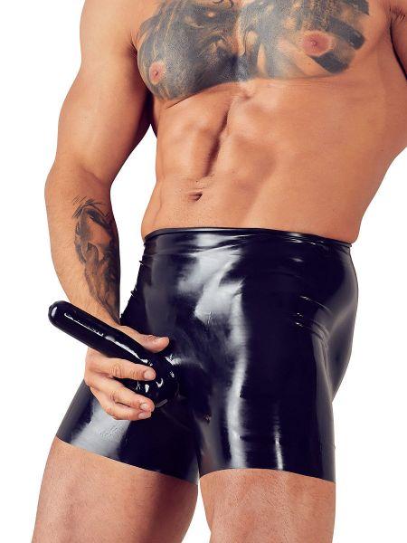 Latex-Pants mit Penishülle und Analkondom, schwarz
