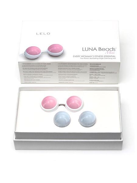 Lelo Luna Beads Mini: Liebeskugel-Set, hellblau/rosa