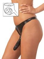 Latex-Slip mit 3fach-Dildo, schwarz