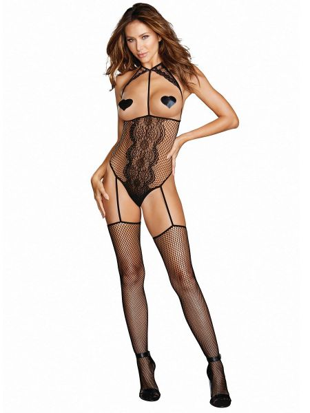 Dreamgirl Ouvert-Catsuit, schwarz