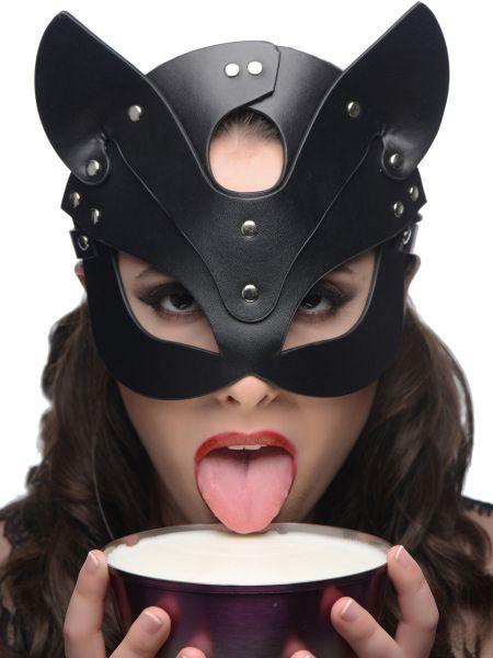 Master Series Naughty Kitty: Leder-Kopfmaske, schwarz