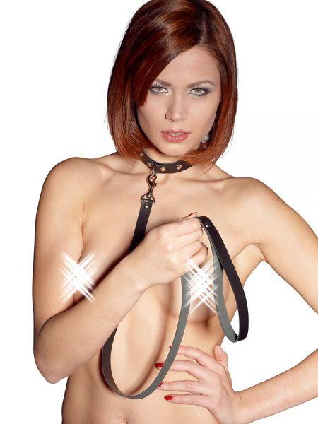 Leder-Halsband mit Leine, schwarz