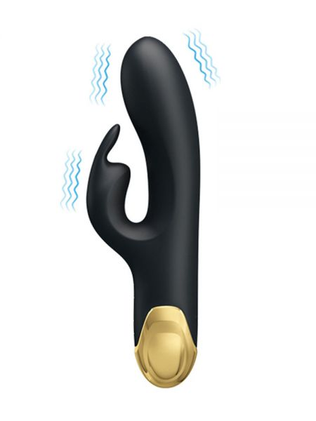 Pretty Love Royal Pleasure Double Pleasure: Bunnyvibrator, schwarz/gold
