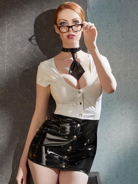 Lack-Sekretärin-Minikleid, schwarz/weiß