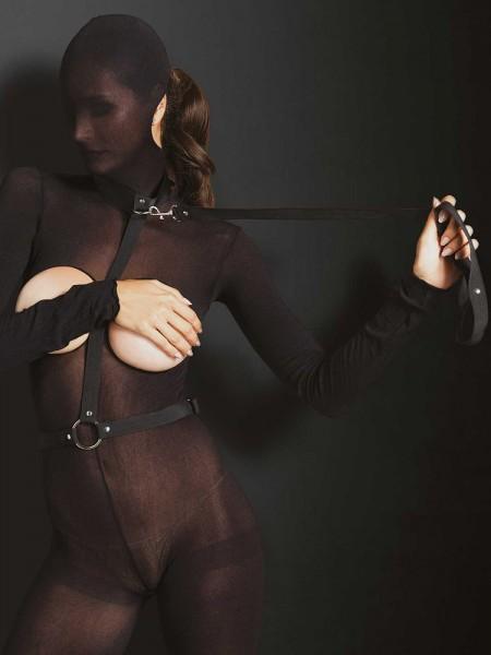 KINK: Nylon-Harness mit Führleine, schwarz