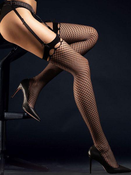 Fiore Burlesque: Netz-Strapsstrümpfe, schwarz