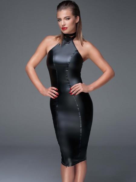 Noir Handmade: Wetlook-Kleid F160, schwarz