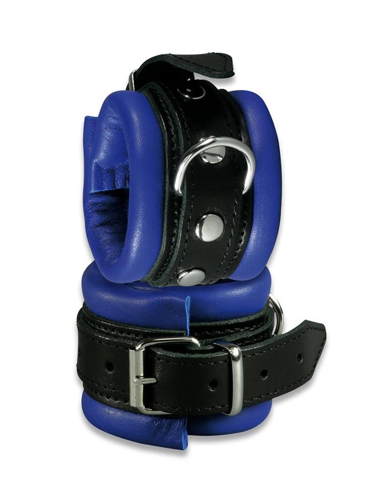 Stoys XxdreamSToys: Leder-Handfesseln, blau/schwarz