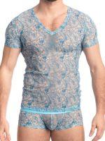 L'Homme Icy Tropics: T-Shirt, ciel/teal