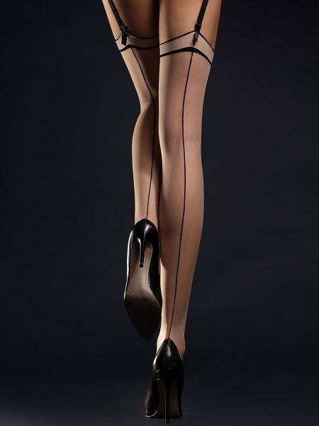 Fiore Madame: Strapsstrümpfe, nude/schwarz