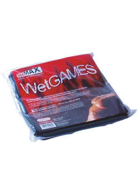 Lack-Bettlaken: Wetgames-Sex-Laken, schwarz 180x220cm
