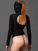 KINK: Langarm-Perlenbody mit Kopfmaske, schwarz