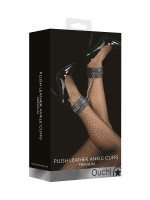 Ouch! Plush Leather Ankle Cuffs: Fußfesseln, schwarz