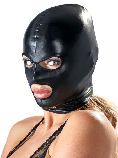 Bad Kitty Wetlook-Kopfmaske mit Öffnungen, schwarz