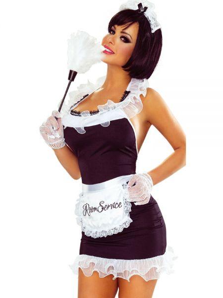 Provocative Maid Dress: Zimmermädchen-Set, schwarz/weiß