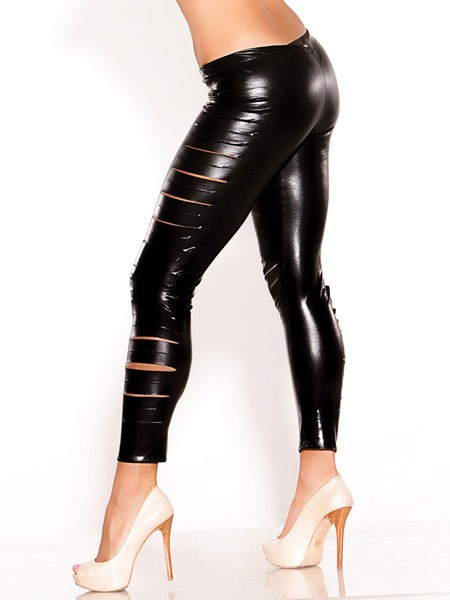 Kitten: Wetlook-Leggings, schwarz