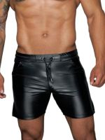 Noir Handmade: Wetlook-Shorts H061, schwarz